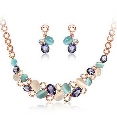 Fashion Women Gold Plated Chain Multicolor Opal Necklace Earring Jewelry Sets