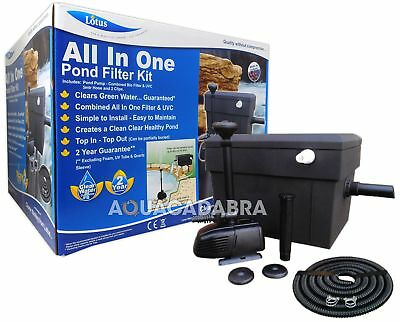 Lotus All In One Pond Filter Kit Otter 4500 Litre Pump Bio Filter 8W Uvc Hose