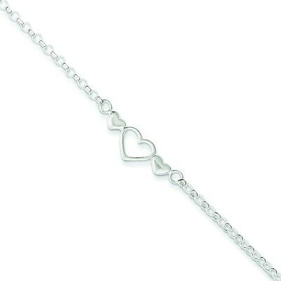 ".925 Sterling Silver Polished Solid Rolo Link Chain Triple Hearts 10"" Anklet"