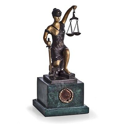 Lawyers & Legal - Kneeling Lady Justice Sculpture On Green Marble Base