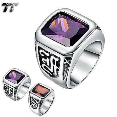 High Quality TT 316L Stainless Steel Ring Purple/Red CZ Stone (RZ129) NEW
