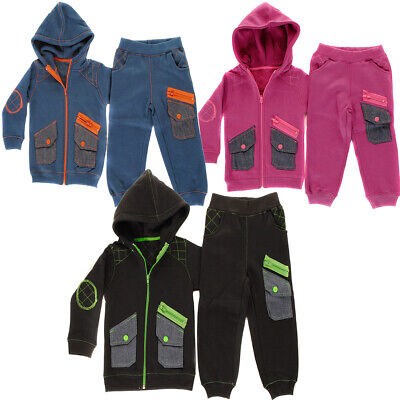 Baby Boys, Girls Cargo Denim Pocket Toddlers Babies Full Zip Fleece Tracksuit Gi