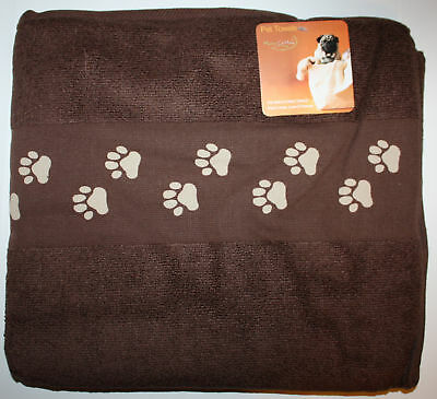Noble Excellence Chocolate Brown Pet Dog Micro Cotton Towel 27X52 NIP