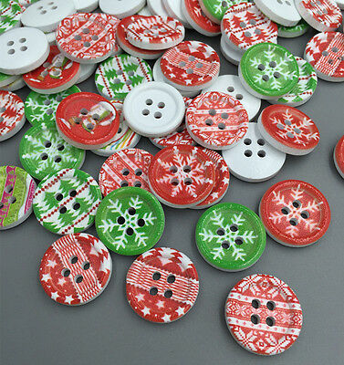 Free Mixed Christmas 4 Holes Wooden Buttons Fit Sewing Clothing accessories 18mm