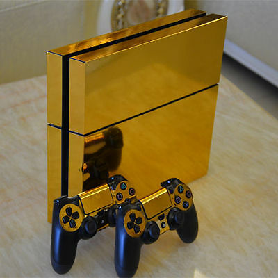Gold Glossy Skin Sticker Fit PS4 PlayStation  Console & Controller Electroplate#