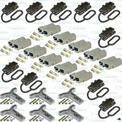 10 X Genuine 50Amp Anderson Plugs + 10 X Dust Covers + 6 X T Handles 50 50A Har