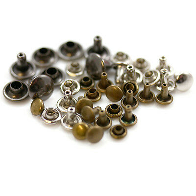 Single & Double Cap Rivets *4 Colours & 8 Sizes* Leathercraft Stud Repair