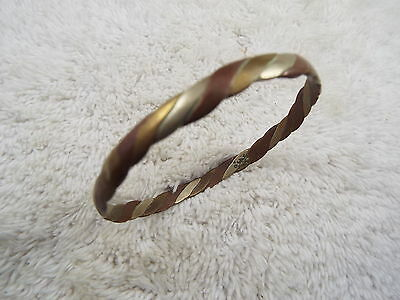 TAXCO Mixed Metal Copper Silver Brass Flat Twisted Bangle Bracelet (B4)