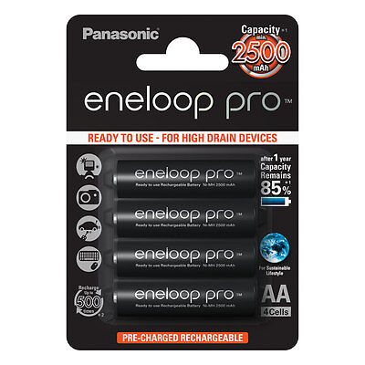 4x Panasonic Eneloop PRO AA HR06 2500mAh NiMH Rechargeable Batteries Ready 2 Use