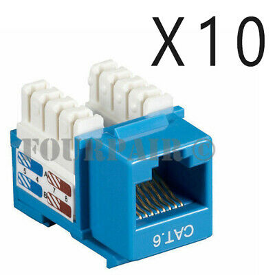10 Pack Lot - CAT6 Ethernet RJ45 110 Punch Down Keystone Snap-In Jack - Blue