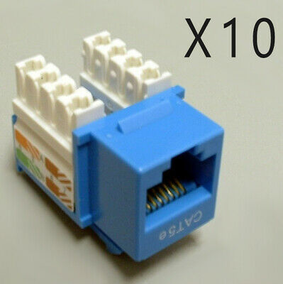 10 Pack Lot - CAT5e Ethernet RJ45 110 Punch Down Keystone Snap-In Jack - Blue
