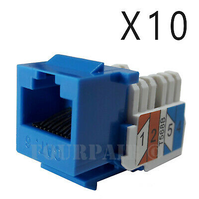 10x Pack Lot CAT6 Network RJ45 Port 110 Punch Down Keystone Snap-In Jack Blue