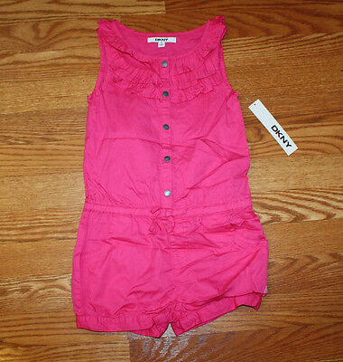 NWT Girls DKNY Pop Pink Sleeveless Romper Shorts Sz 5