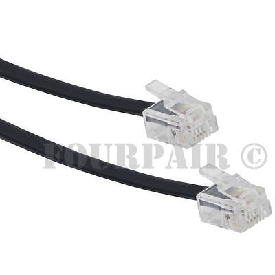10ft Telephone Line Cord Cable Wire 6P4C RJ11 DSL Modem Fax Phone to Wall Black