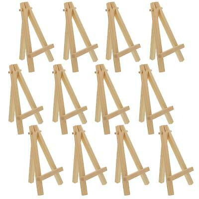 """12 Pack of Mini Wood 5"""" Tabletop Art Craft Display Easels NATURAL Wooden Finish"""