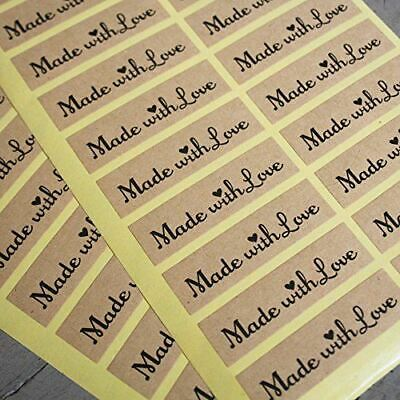 Kraft Stickers MADE WITH LOVE x40 Wedding Favours /Craft - Vintage Rustic Labels
