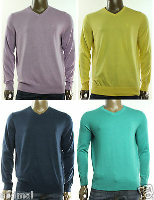 New Nautica Luxury Performance V Neck Cotton Modal Solid Pullover Sweater