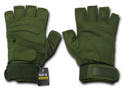 US RAPDOM Lightweight Half Finger Army Military Gloves Gloves Olive L Large