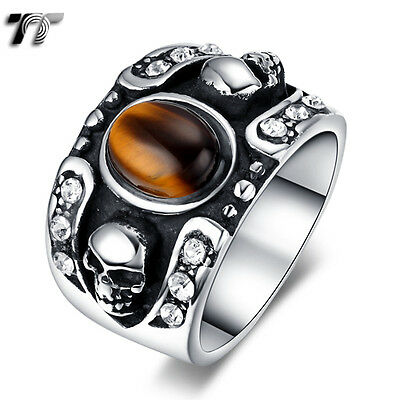 TT 316L Stainless Steel Skull Band Ring With Oval Tiger Eye Size (RZ132) NEW