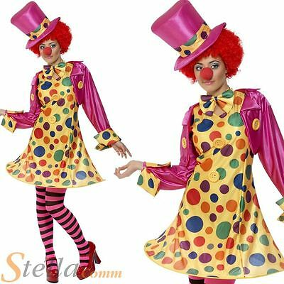 Ladies Clown Fancy Dress Costume Circus Womens Outfit Size 8-22