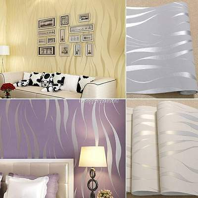 New Bedroom 3D Flocking Waves Non-woven Embossed Textured Wallpaper Home Decor