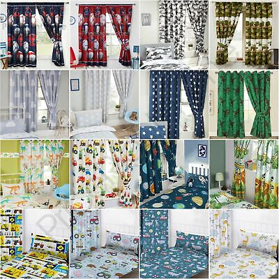 "BOYS BEDROOM CURTAINS 66"" x 72"" IN VARIOUS DESIGNS - DIGGERS, DINOSAURS & MORE"