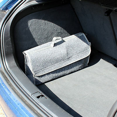 Car Boot Tidy Organiser Grey Carpet Storage Bag/holder With Pockets Universal