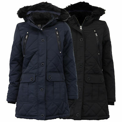 d361cded4941 Ladies Parka Jacket Brave Soul Womens Coat Padded Hooded Quilted Faux Fur  Winter