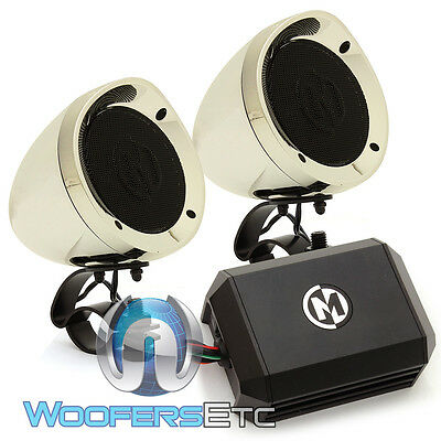 "Memphis Mxahsc 3"" Motorcycle Marine Boat Atv Speakers & Amplifier Aux Chrome New"
