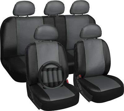 Faux Leather Seat Cover for Ford Expedition Gray with Steering Wheel/Belt/Head R
