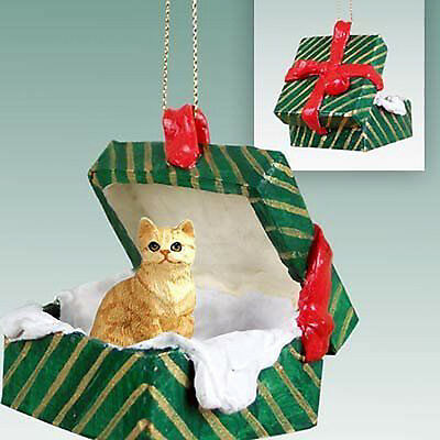 Red Tabby Cat Green Gift Box Holiday Christmas ORNAMENT