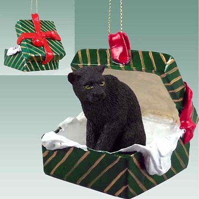 PANTHER Green Gift Box Holiday Christmas ORNAMENT