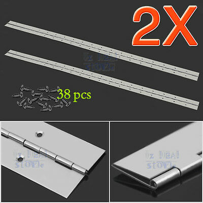 2X PIANO HINGE HEAVY DUTY STAINLESS STEEL CABINET 1000mm*50mm CONTINUOUS HINGES