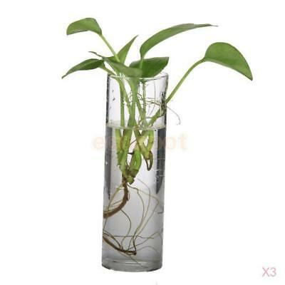 3 x Hanging Glass Flower Plant Vase Terrarium Container Home Decor Cylinder 15cm