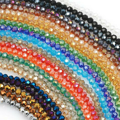 100X 4mm Rondelle Facet Crystal Glass Round Loose Spacer Beads Jewelry Finding
