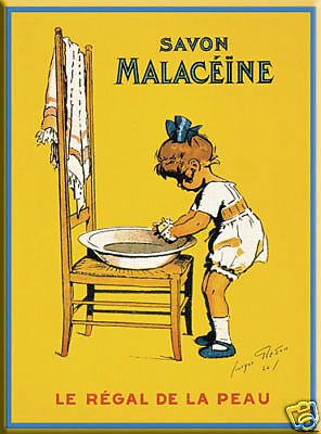 Vintage Chic French Malaceine Soap Metal Bathroom Sign