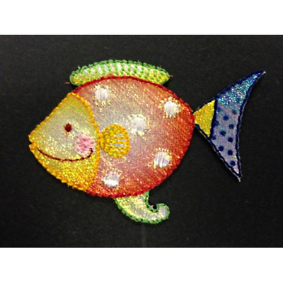 Iron On Motif Happy Tropical Fish Glitter Swim Ocean Patch