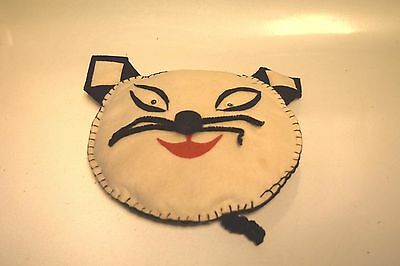 Vintage Circa 1950's Cat Face Mini Pillow Handsewn Felt W/pipe Cleaner Whiskers