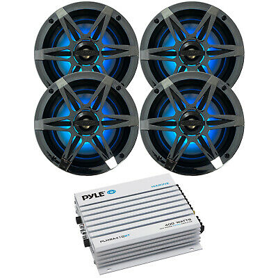 "800-Watt 4 Ch Amplifier, Bluetooth Trasmitter, 4x 6.5"" LED Waterproof Speakers"