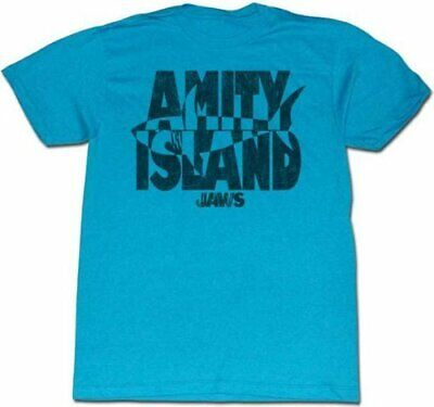Classic Movie Jaws Invert Amity Island Turquoise Adult T-shirt