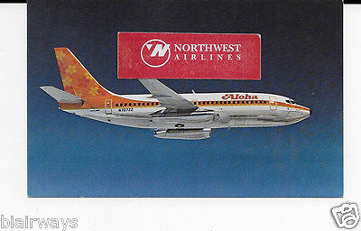 Aloha Airlines  Boeing 737-200 #n70722 Flower Power Airline Issue Postcard