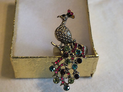 Beautiful Gold Tone Cocktail Ring Peacock Stretch Colorful Rhinestones WOW