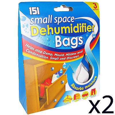 Dehumidifier Bags Small Space Interior Portable Damp Mould Mildew Absorber x2