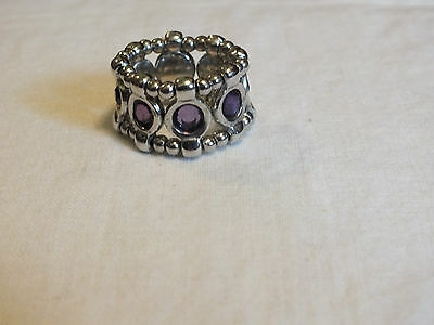 Beautiful SilverTone Cocktail Ring Stretch Amethyst Rhinestones 5/8 In Wide WOW