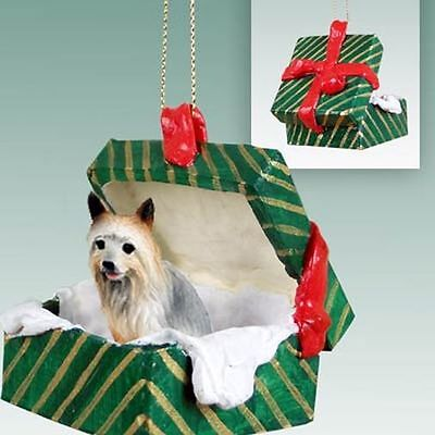 SILKY TERRIER Dog Green Gift Box Holiday Christmas ORNAMENT