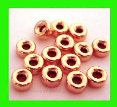 30x 4mm roundel donut 14k ROSE gold filled seamless bead spacer plain shiny RB34