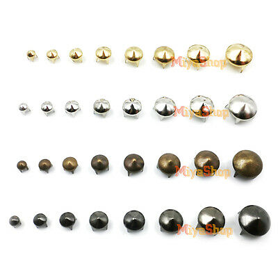 50/100 X Round Cone Studs Spikes 4-12mm Rivets Gold Silver Copper Black Punk DIY