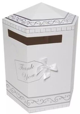 Wedding Gifts Thank You Card Post Box Mailbox White & Silver New UK SELLER