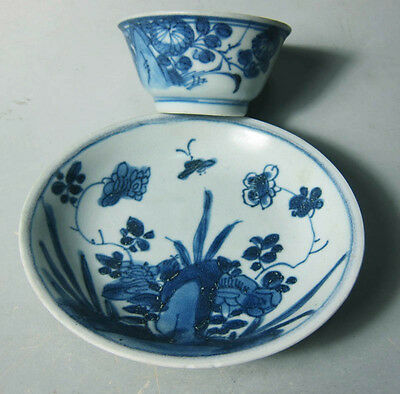 Set of Shipwreck Qing Kangxi  Blue and white cup/saucer (floral/butterfly)