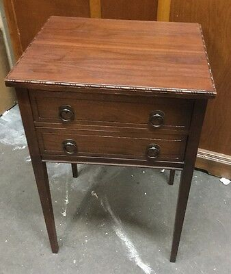 BEAUTIFUL Walnut Carved Edge 2 Drawer  END TABLE or NIGHT STAND